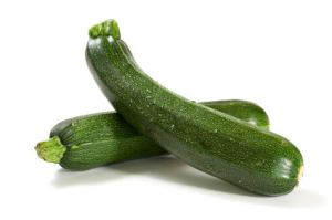 two fresh zucchini isolated